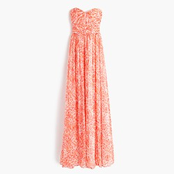 Marbella long dress in watercolor silk chiffon