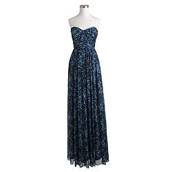 Marbella long dress in watercolor silk chiffon