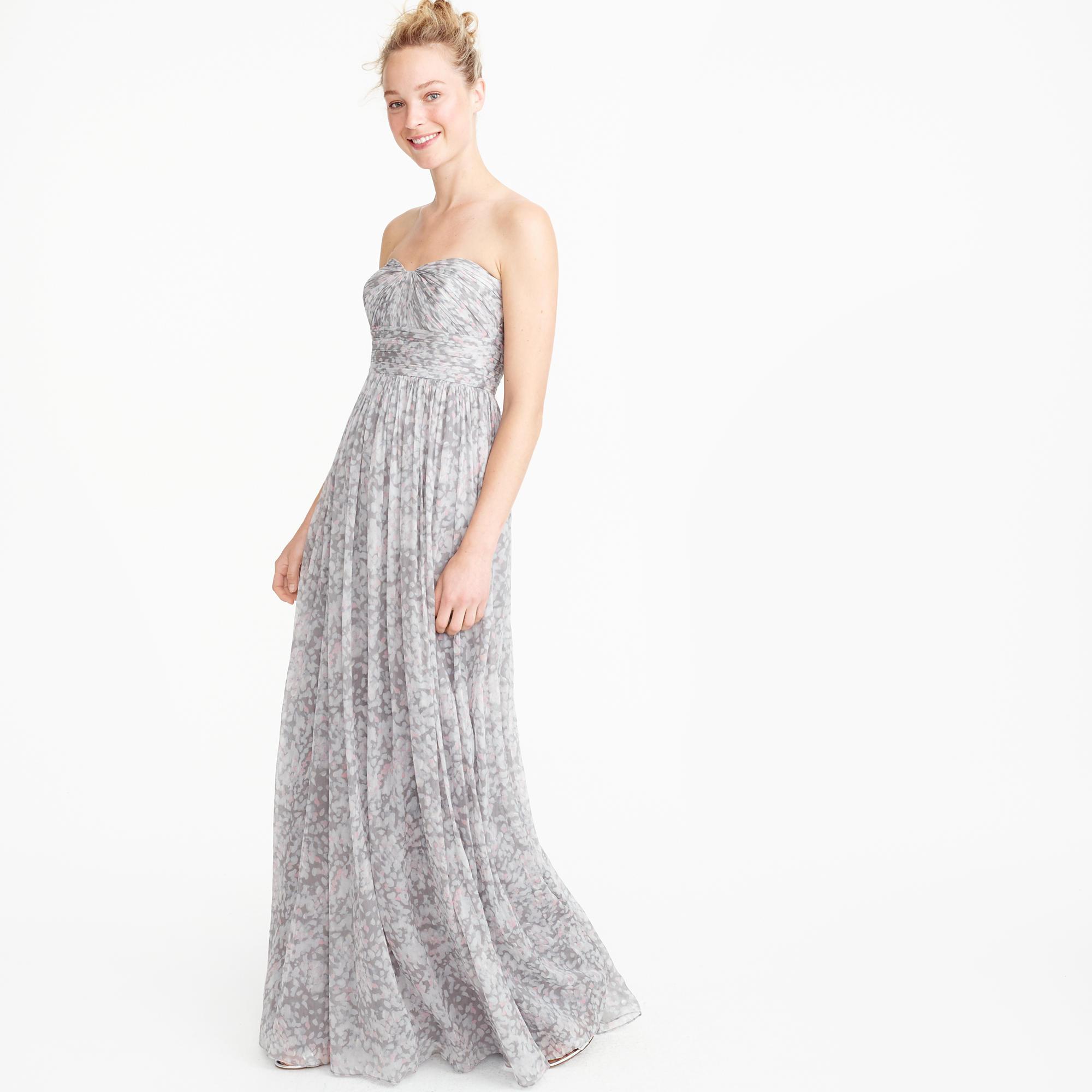 Nadia long dress in silk chiffon :  J.Crew