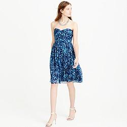 Marbella strapless dress in watercolor silk chiffon