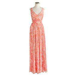 Heidi long dress in watercolor silk chiffon