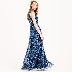 Heidi long dress in watercolor silk chiffon