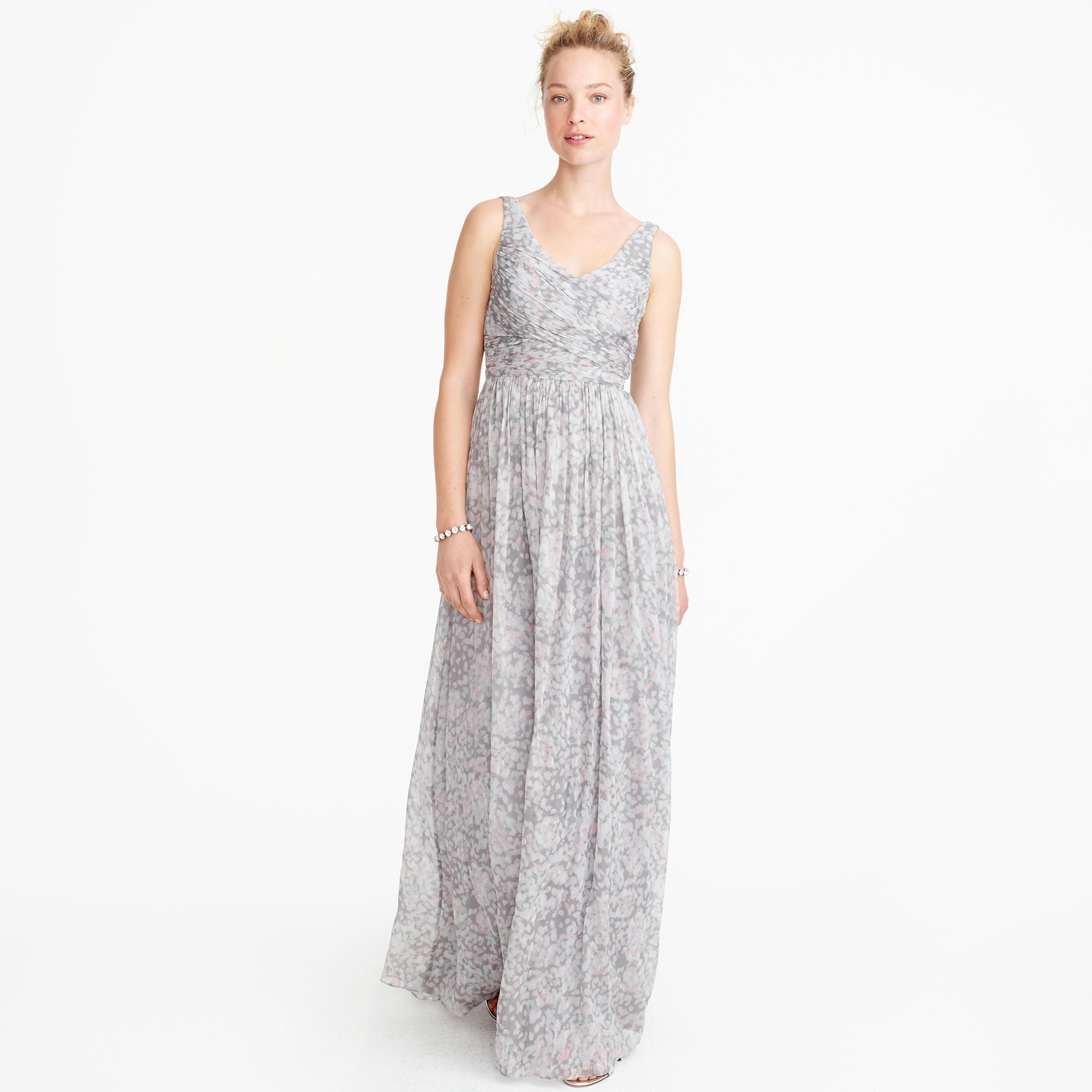 Heidi long dress in watercolor silk chiffon : Wedding sizes 16 to ...