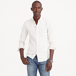 Slim vintage oxford shirt in light pecan tattersall