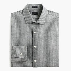 Ludlow wool shirt in light grey pinstripe