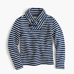 Boys' shawl-collar striped sweatshirt