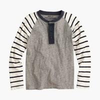 Boys' slub cotton henley with striped long sleeves