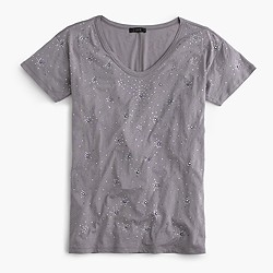 Embellished scoopneck T-shirt