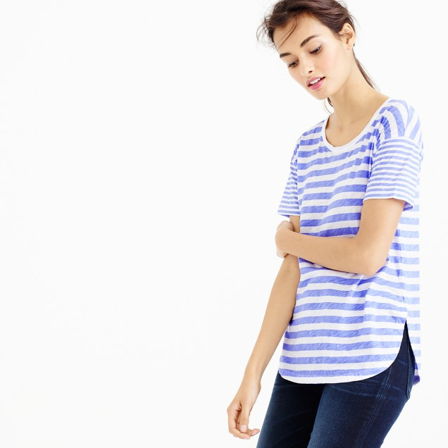 Mixed-stripe vintage cotton T-shirt with rounded hem