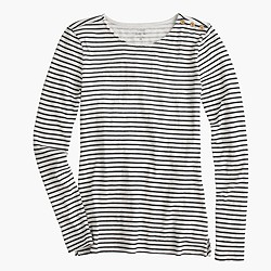 Petite long-sleeve striped painter T-shirt