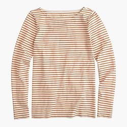 Long-sleeve painter T-shirt in metallic stripe