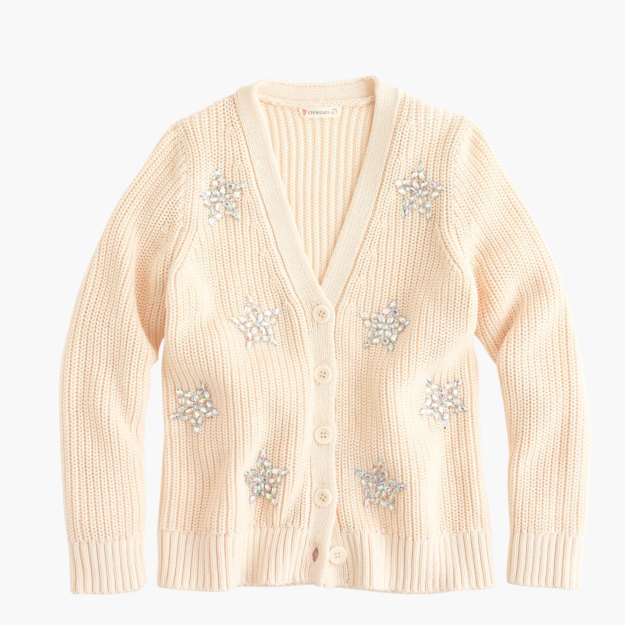 Girls' sequin-star cardigan sweater :