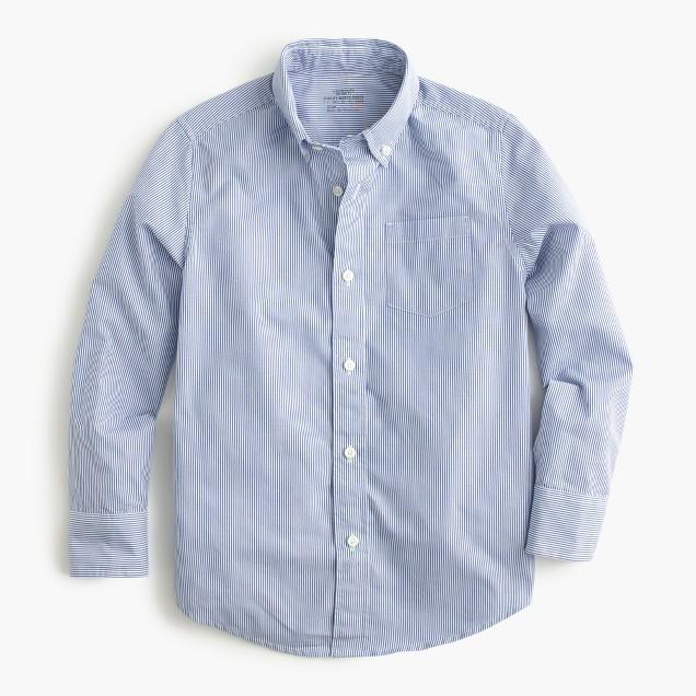 Boys' Secret Wash shirt in pinstripe