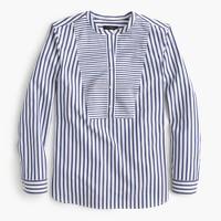 Collarless shirt in mixed stripe