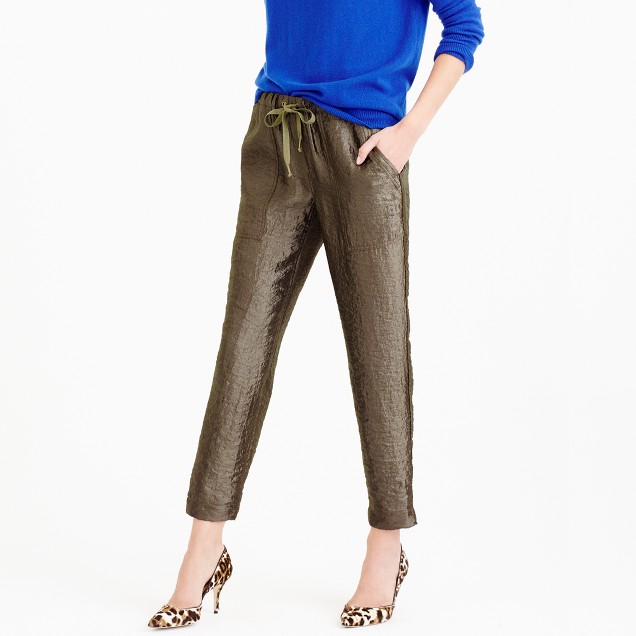 Washed lamé pull-on pant