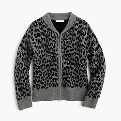 Girls' leopard bomber-sweater
