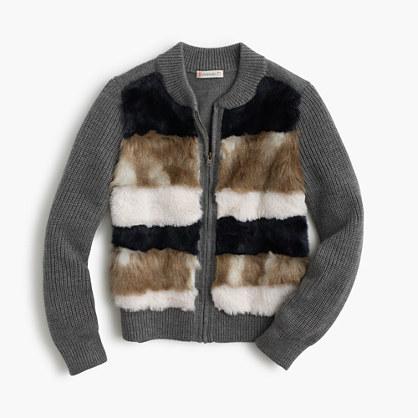 Girls' merino wool striped bomber-sweater