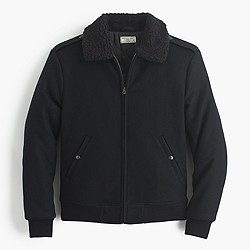 Wallace & Barnes sherpa-collar wool bomber jacket