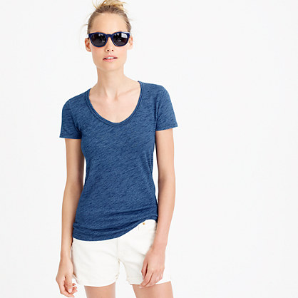 Indigo vintage cotton scoopneck T-shirt