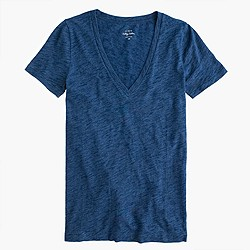 Indigo vintage cotton V-neck T-shirt