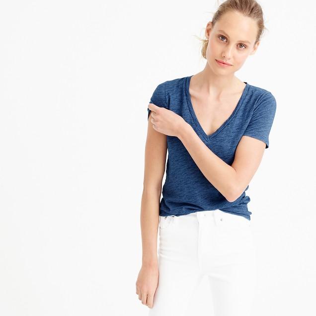 Indigo vintage cotton V-neck T-shirt
