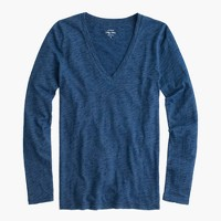 Indigo vintage cotton long-sleeve V-neck T-shirt