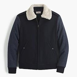 Wallace & Barnes sherpa-collar contrast wool bomber jacket
