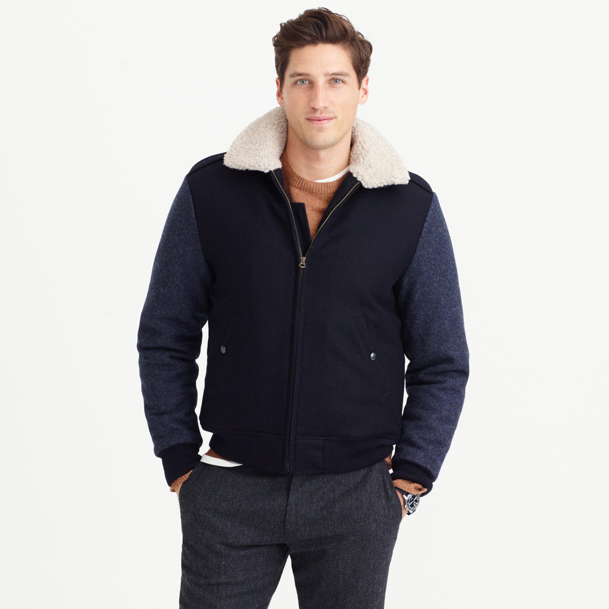 Wallace &amp Barnes sherpa-collar contrast wool bomber jacket : | J.Crew