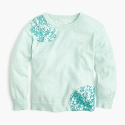 Girls' sequin cluster popover sweater