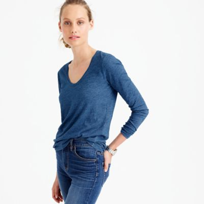 Indigo vintage cotton long-sleeve scoopneck T-shirt