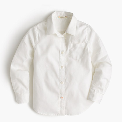Girls' long-sleeve tissue oxford shirt