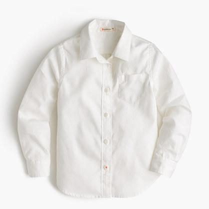 Girls' long-sleeve tissue oxford shirt