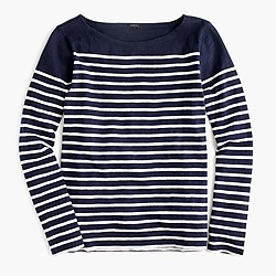 Placed-stripe T-shirt
