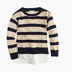 Girls' deck-striped popover sweater with shirttail