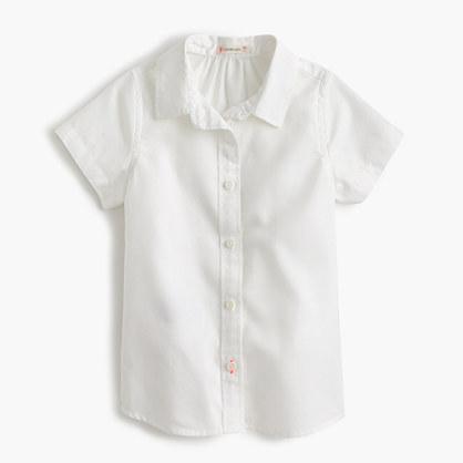 Girls' short-sleeve tissue oxford shirt