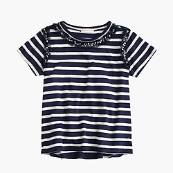 Girls' striped sequin necklace T-shirt