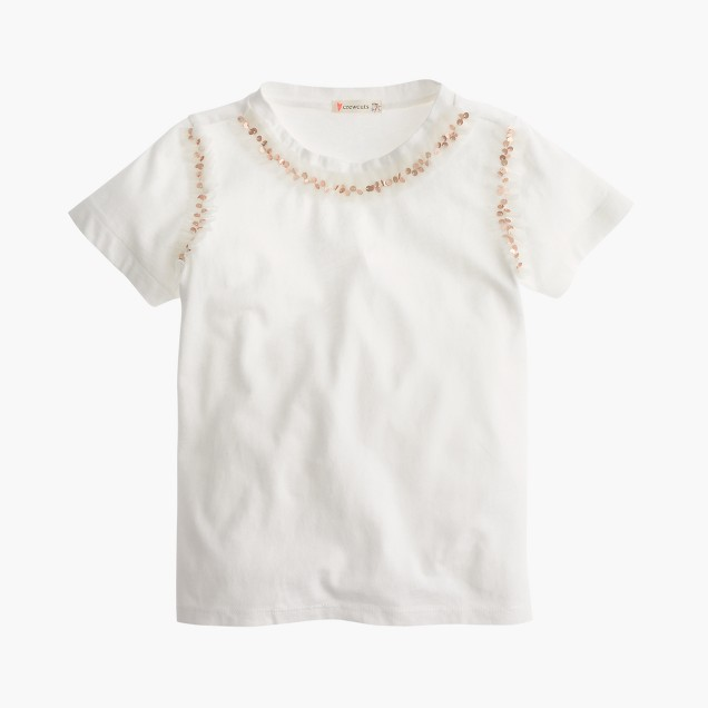Girls 39 sequin necklace t shirt j crew for Girls sequin t shirt