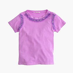 Girls' sequin necklace T-shirt