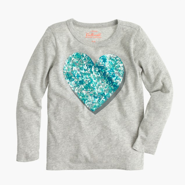Girls 39 long sleeve sequin shadow heart t shirt j crew for Girls sequin t shirt