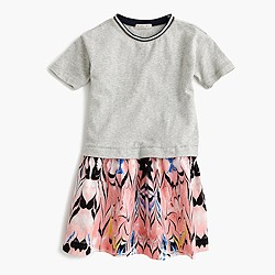 Girls' two-in-one dress in marble print