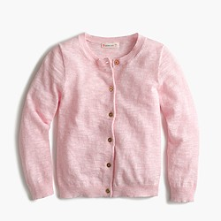 Girls' Caroline cardigan sweater in slub cotton
