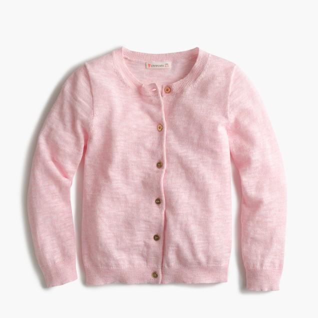 Girls' Caroline cardigan sweater in slub cotton