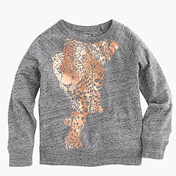 Girls' three-quarter-sleeve foil leopard T-shirt