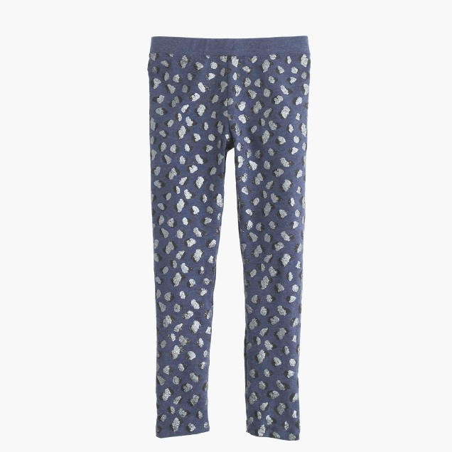 Girls' everyday leggings in leopard foil