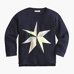 Girls' geometric star popover sweater