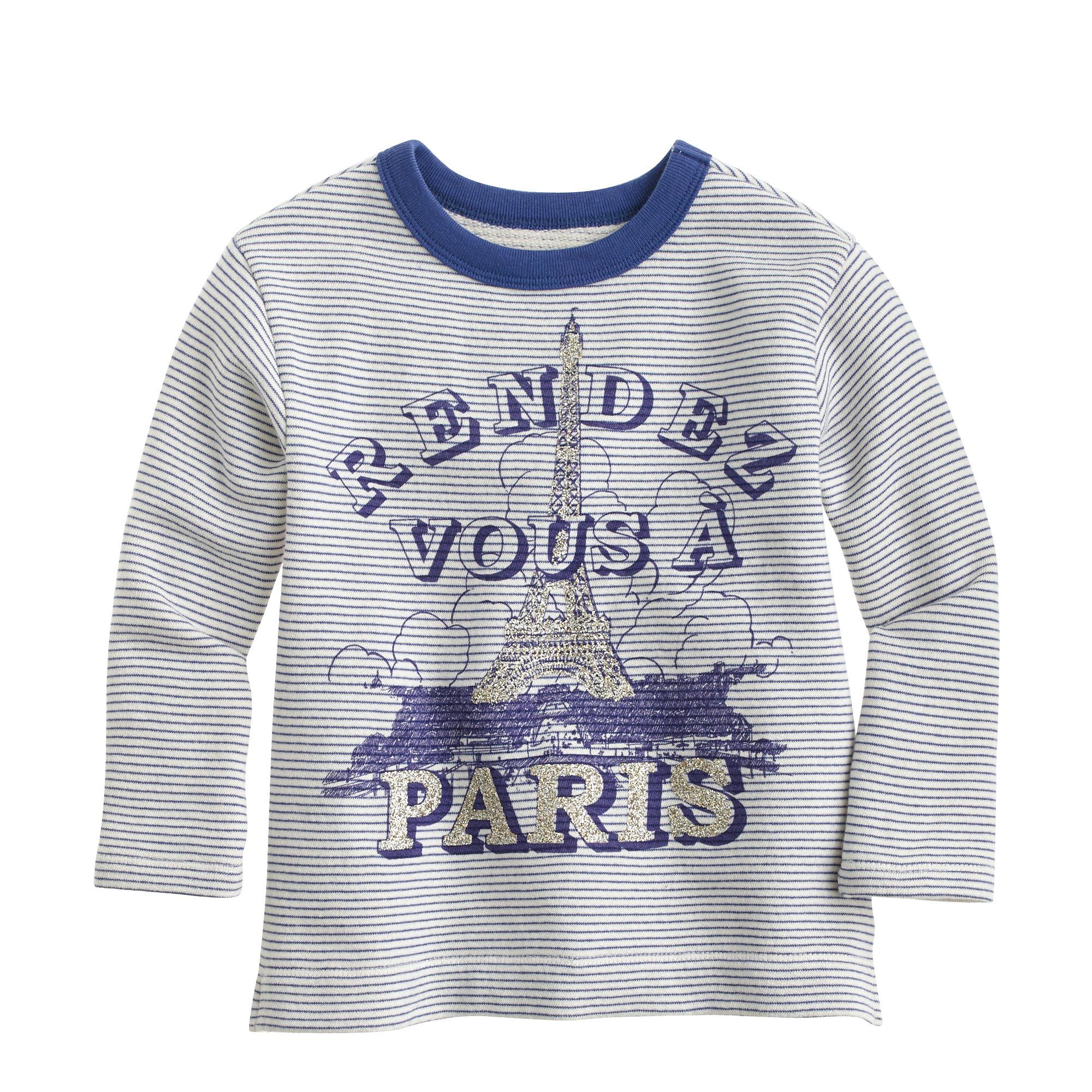 Girls Striped Paris Sweatshirt J Crew