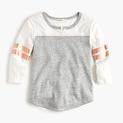 Girls' three-quarter-sleeve football T-shirt