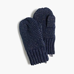 Girls' metallic woven mittens