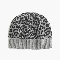 Girls' leopard wool cap