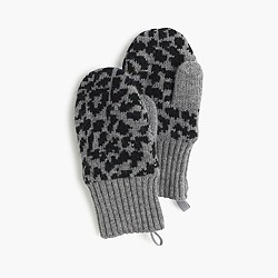 Girls' leopard wool mittens